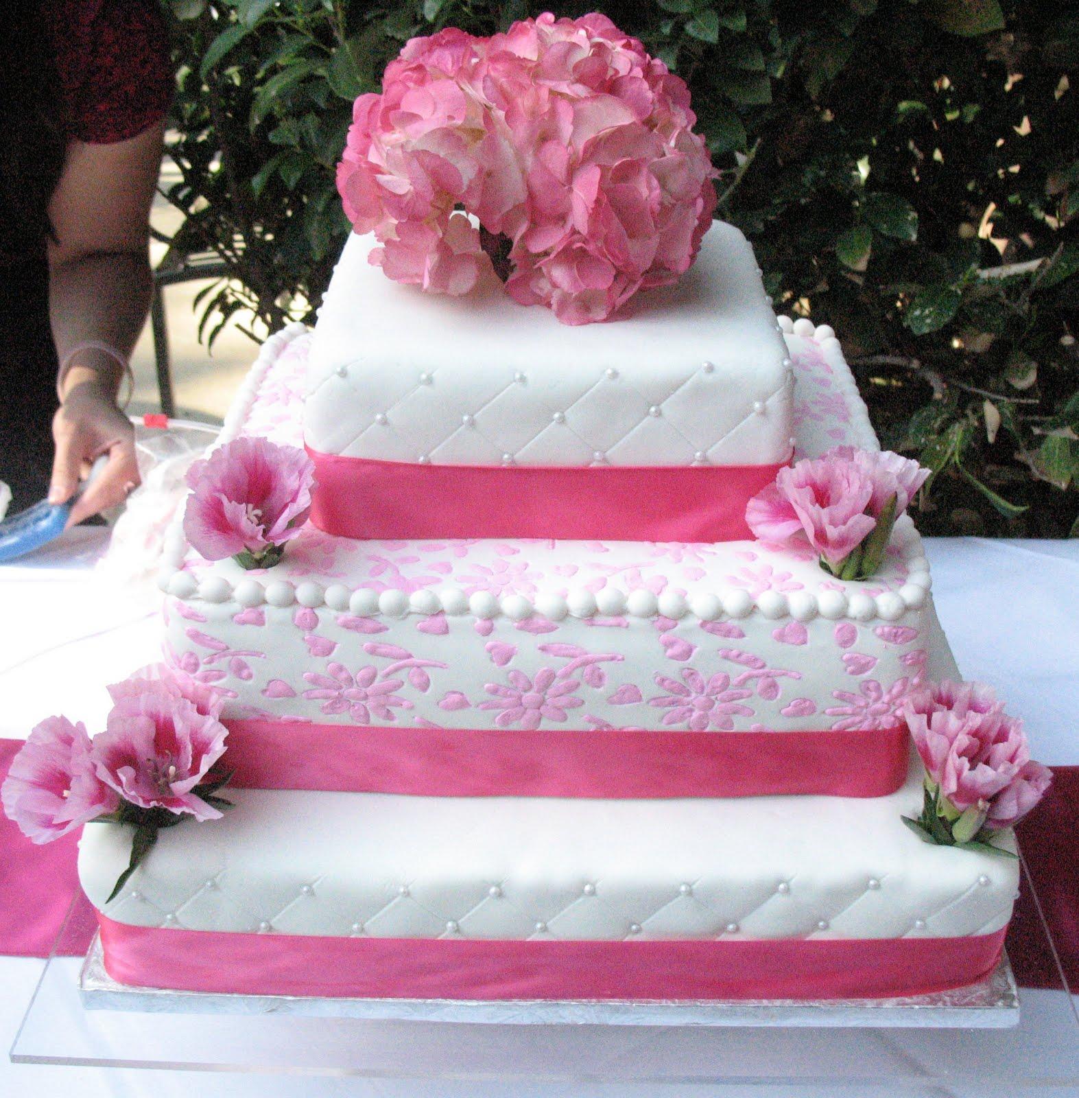 J s Cakes Pink Flowers Wedding Cake