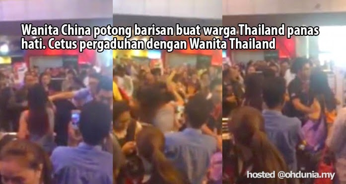 Video: Gara-gara potong barisan, wanita China 'ditomoi' wanita Thai