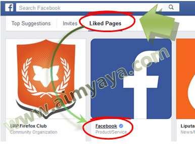 Gambar: Melihat Halaman FansPage Facebook yang sudah disukai (like)
