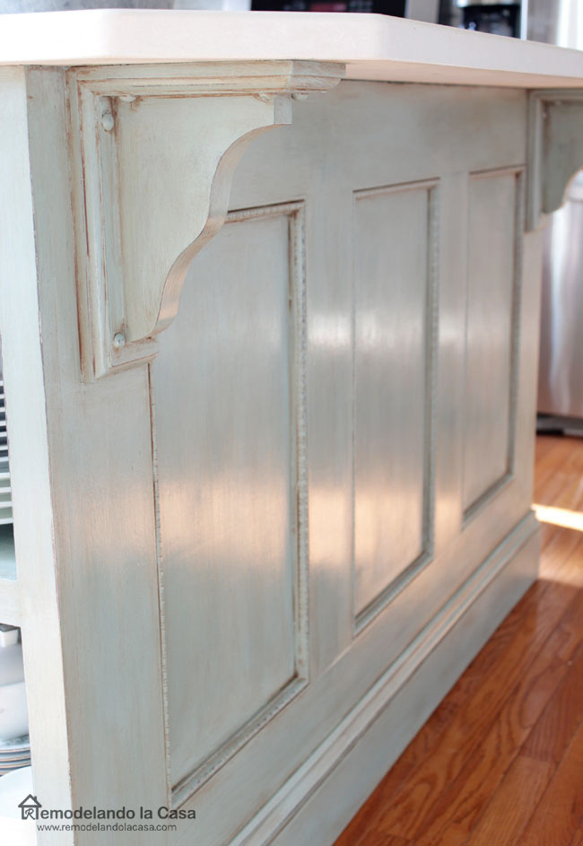 kitchen island makeover - from brown to blue with added corbels
