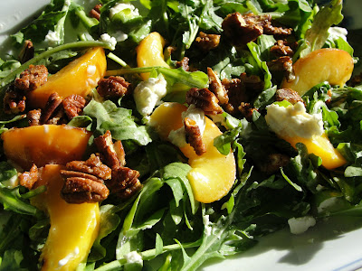 grilled peach salad with candied pecans