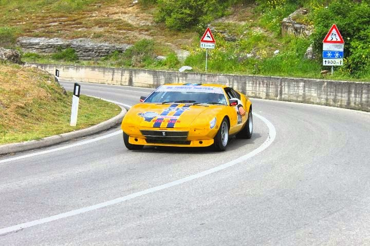 A modern, high performance car taking part in the Camucia Cortona Hill Climb