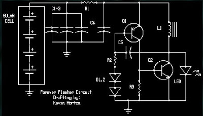LED blinking circuit with solar power