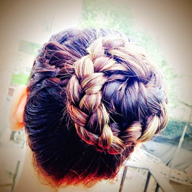French drop plait bun