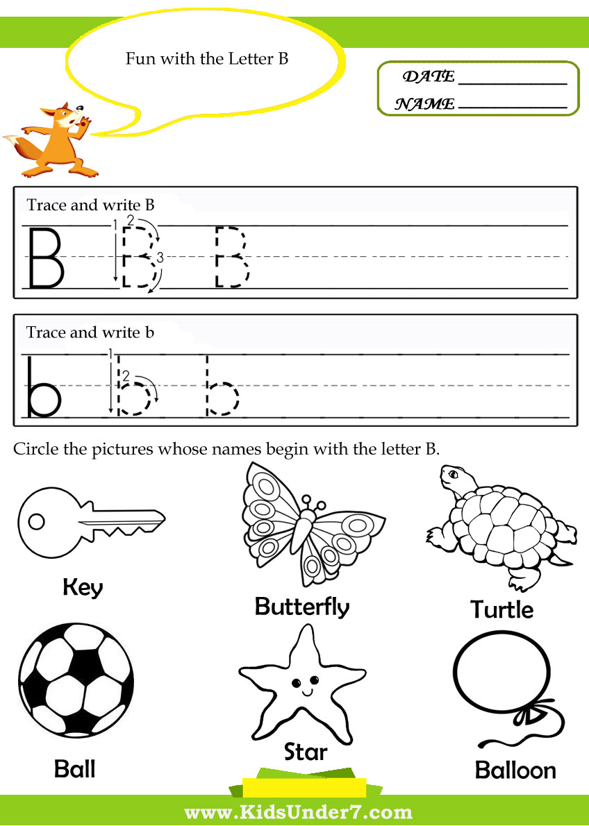Kids Under 7 Alphabet – B Worksheets