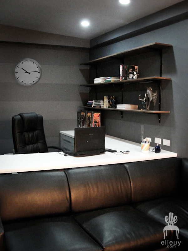 dark walls, black walls, home office, stripe wall, display shelves