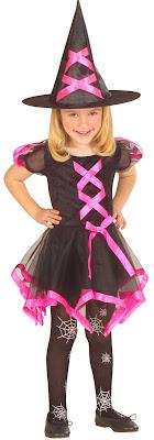 Hekse kostume i sort og pink