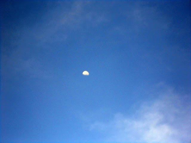 Volviendo la Mirada al Cielo, Luna de Día, preciosa Luna, cielo azul, luna