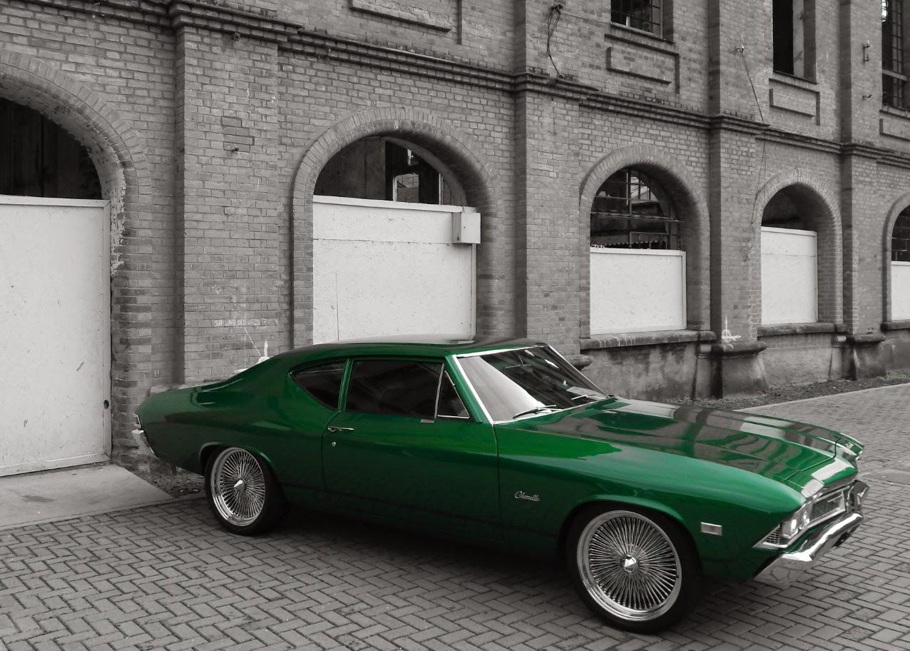 Este Chevelle 1968 estava impecável. As rodas raiadas não são originais, mas combinaram perfeitamente com o modelo.