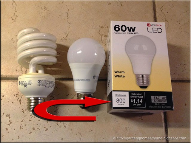 led bulb packaging showing wattage and lumens