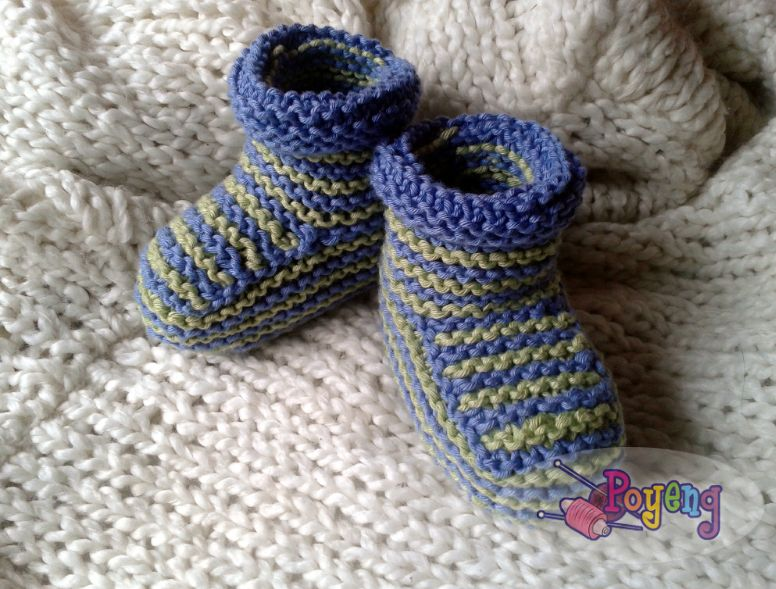 Free Knitting Patterns For Babies : Knitting with Ajeng: Rajut Free Knitting pattern : Boy Baby Booties