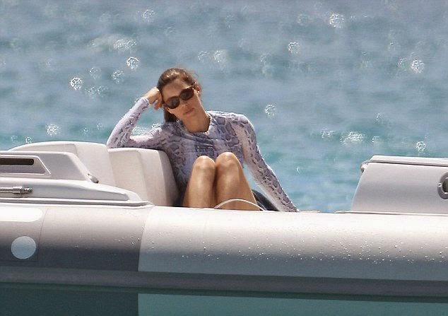 Jessica Biel showcases a Blue Bikini shapes as she takes to the ocean in the Caribbean
