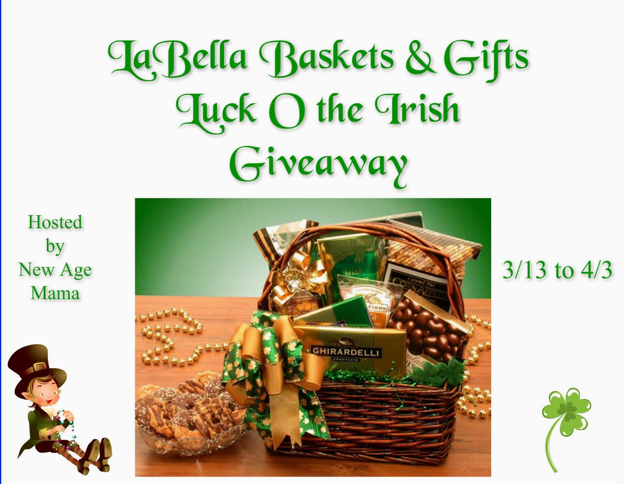 Enter the LaBella Baskets & Gifts Luck O the Irish Giveaway. Ends 4/3.