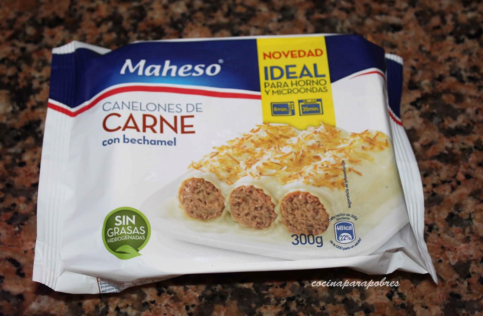 Cocina para pobres canelones maheso - Canelones en microondas ...