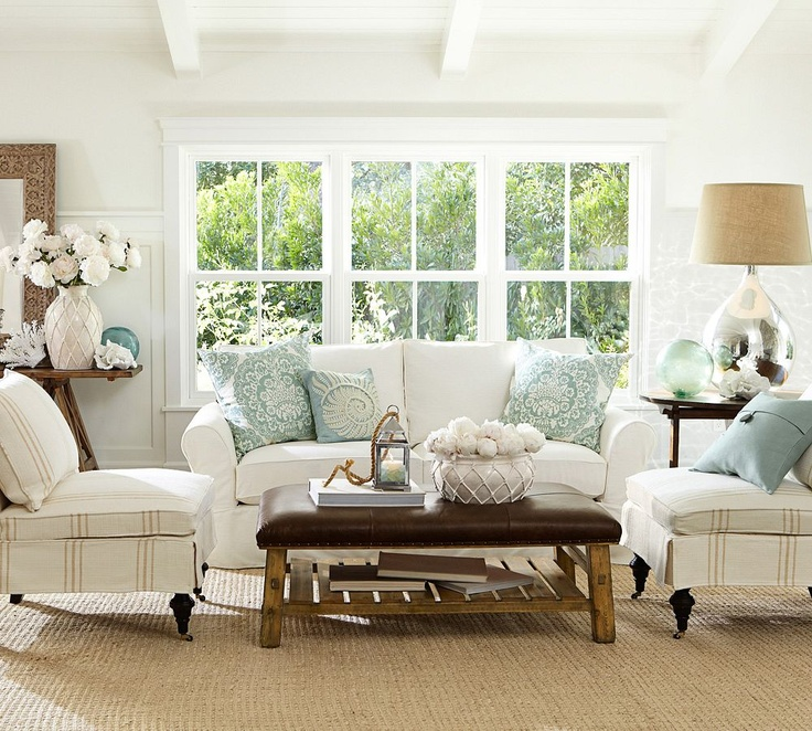 Coastal style living room decorating tips for Beach cottage style living room furniture