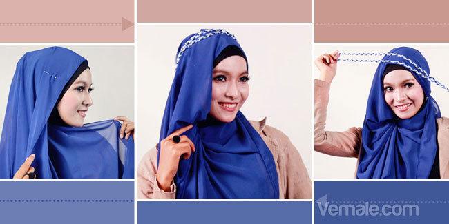 Cara Memakai Jilbab Sifon Biru Keren