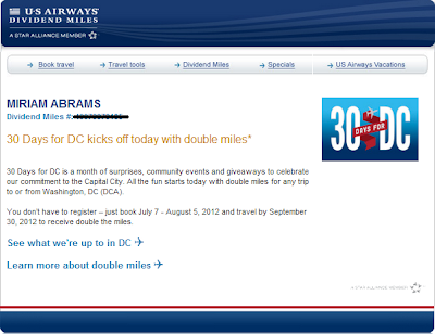 US Airways 30 Days For DC Promotion - Earn Double Miles Until Sept. 30, 2012