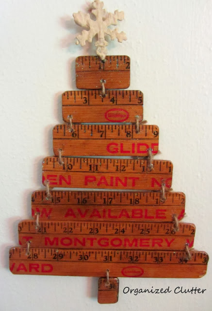 Re-Purposed Yardstick Christmas Tree www.organizedclutterqueen.blogspot.com