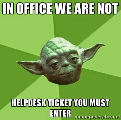 Star Wars Yoda Out of office sign for helpdesk techs