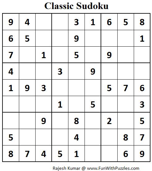 Classic Sudoku (Fun With Sudoku #70)