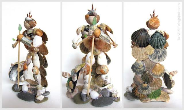 рыцарь -  поделка из ракушек