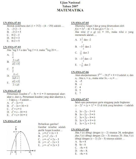 Matematika Di Sma Soal Ujian Nasional Un Matematika Ipa Sma Ma 2007