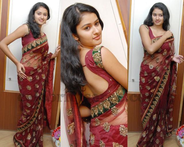 Kausalya in Maroon Shimmer Saree
