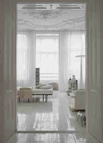 glossy white floorboards