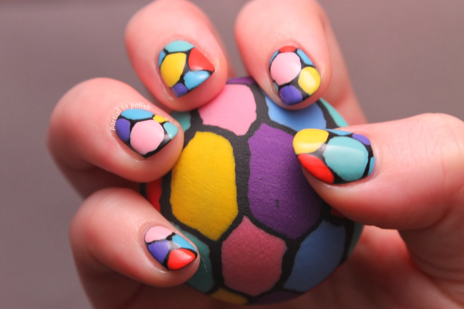Multicoloured Mosaic Nail Art