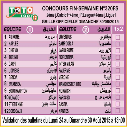 COUNCOURS FIN-SEMAINE N 320FS