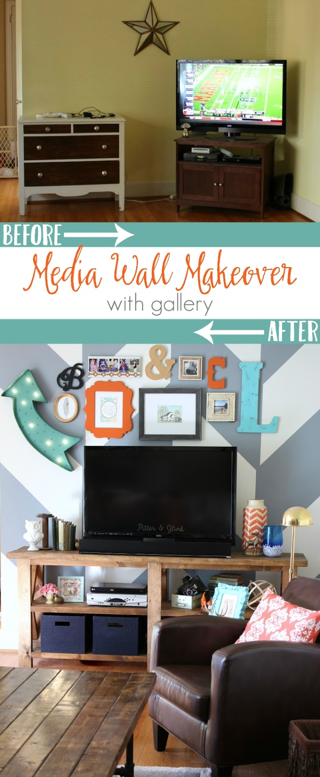 Before & After: A Media Wall Makeover Featuring an Eclectic Gallery www.pitterandglink.com