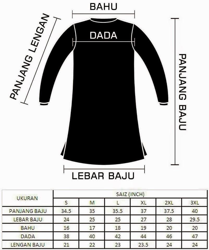 Baju T-Shirt Muslimah Online Murah, Baju Muslimah Online, T-Shirt Muslimah Online, Baju Muslimah Murah, Saiz baju Muslimah Online