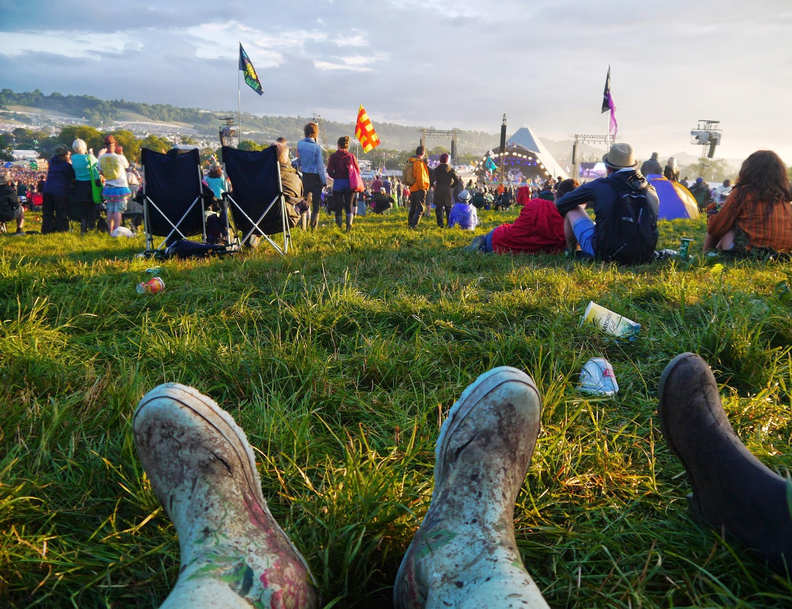 Relaxing at Glastonbury Festival