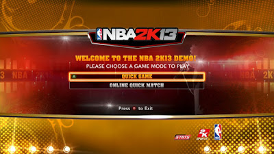 NBA 2K13 Menu - Quick Game and Online Quick Match