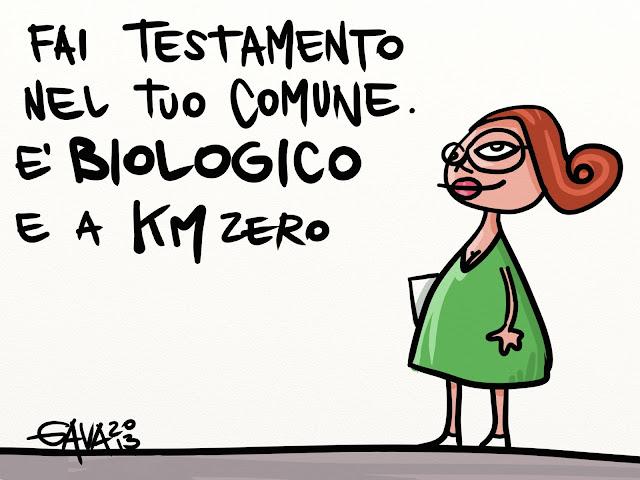 gavavenezia gava satira vignette caricature battuta testamento biologico comune rossa occhiali km 0 verde