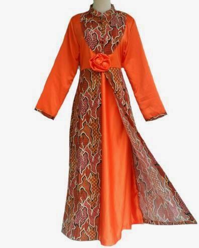 Foto gambar model terbaru jubah batik wanita modern warna ...
