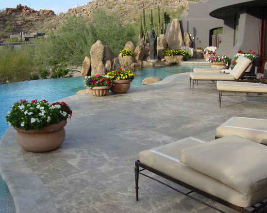 Backyard desert landscaping ideas modern houses home Cheap pool landscaping ideas