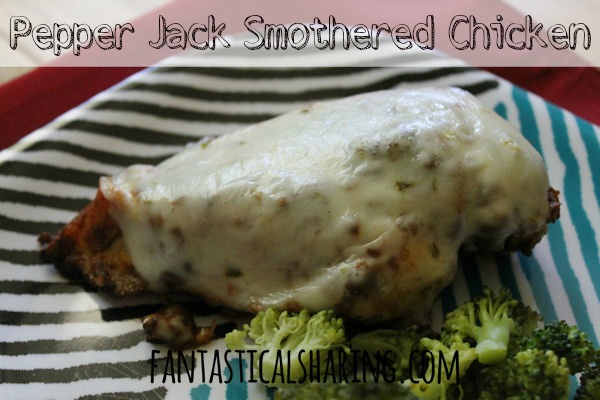 Pepper Jack Smothered Chicken | Tender, juicy chicken smothered in spicy melted cheese - only 3 ingredients!