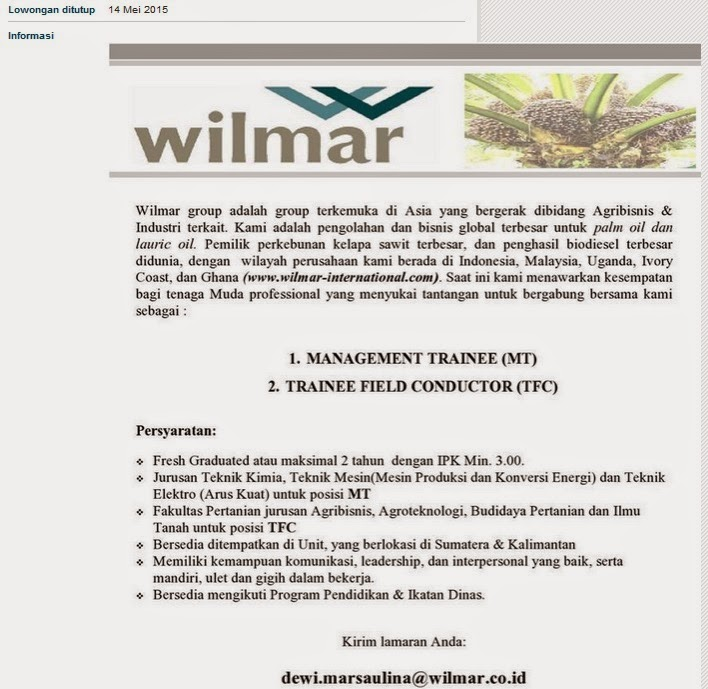 Lowongan Kerja S1 Teknik PT Wilmar International