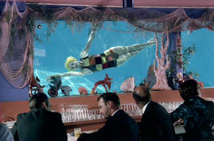 """Entertainment at the Bar"" Lawrence Schiller (1960) men watch a woman swimming underwater"