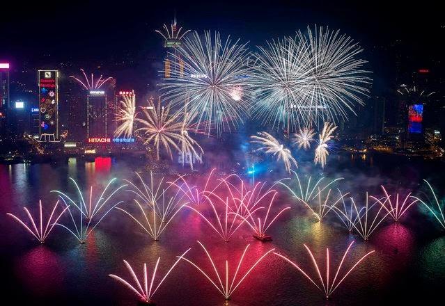 Fuegos Artificiales, año nuevo 2014, Hong Kong