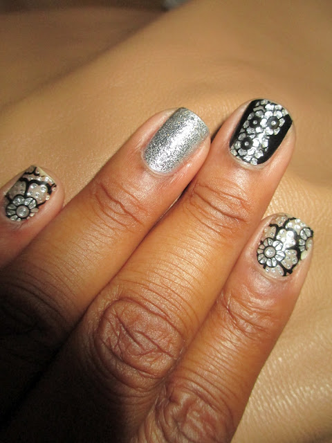 Bling, silver, black, flowers, rhinestones, nail stickers, Spolied I Have No Reception, nail art, nail design, mani