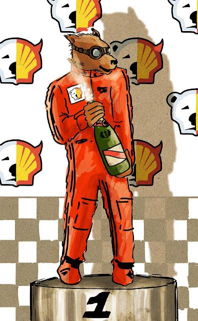 Dibujo de la victoria de Greenpeace sobre Shell en la Fórmula1
