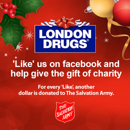 Like us on facebook and help give the gift of charity. For every Like, another dollar is donated to The Salvation Army.