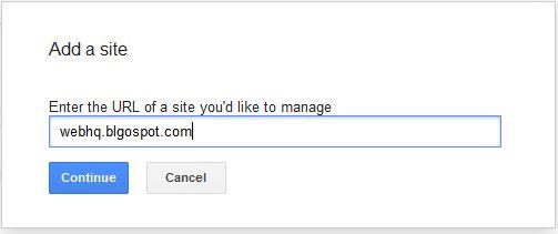 google webmaster add a site