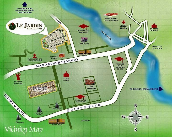 Le Jardin de Villa Abrille - Ma-a, Davao City Vicinity Map