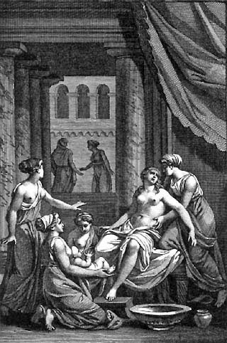 The birth of Heracles with the midwife goddess Eileithyia in attendance