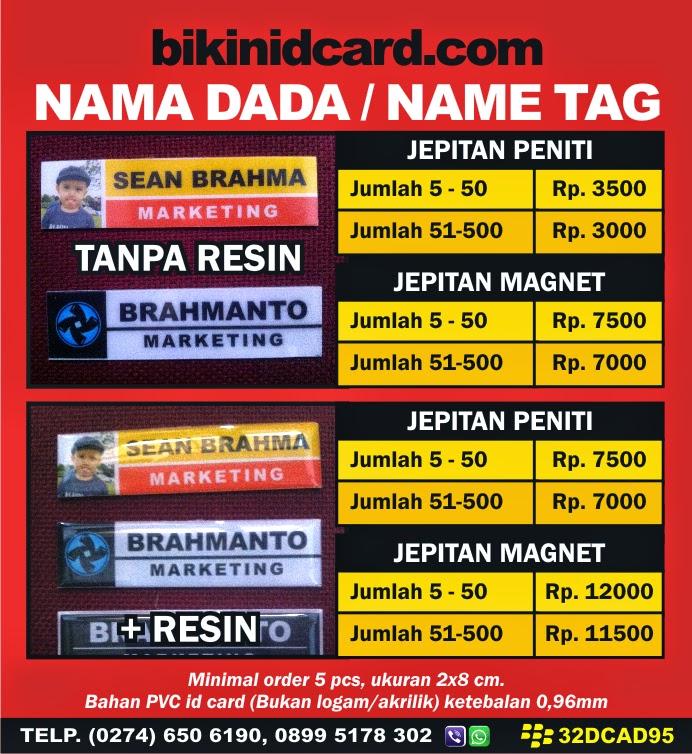 daftar harga name tag murah