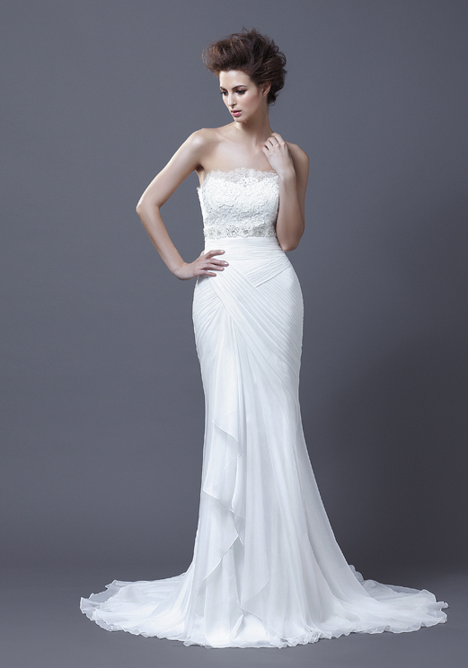 Chiffon Lace Strapless Mermaid Wedding Dress