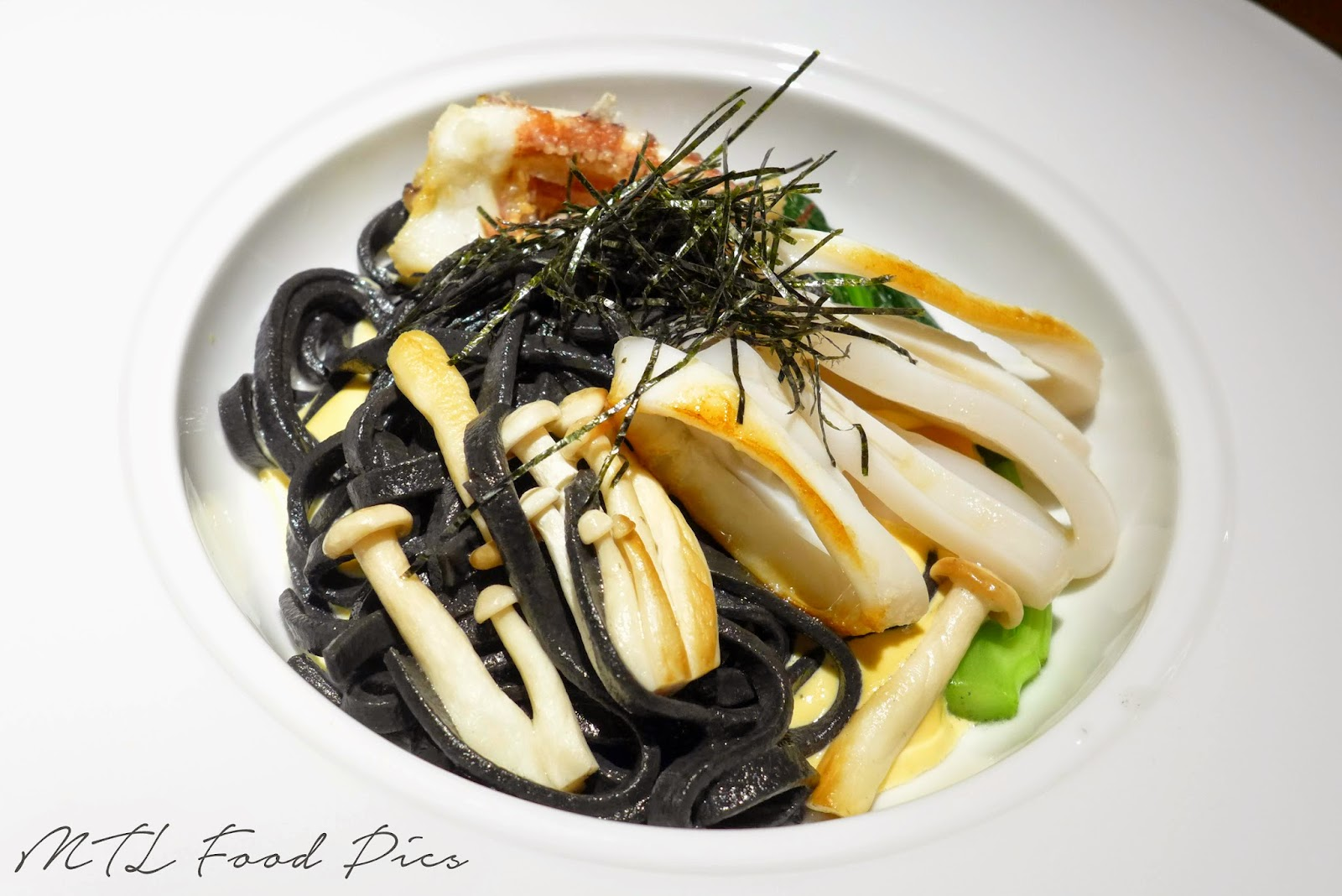 Ika - Squid Ink Udon, Uni Sabayon - Japanese food